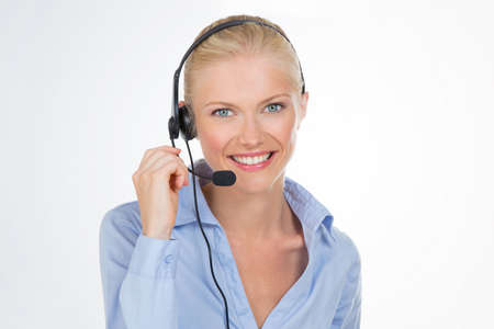smiley girl gives information about sales photo