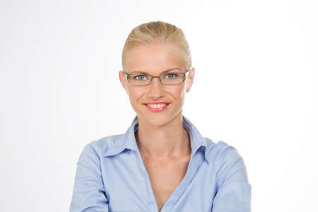 closeup of pretty woman with glasses photo