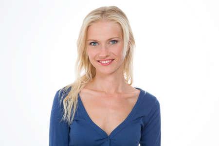 blond girl smiling photo
