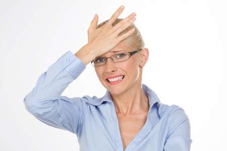 Femme blonde se inquiétait quelque chose Banque d'images - 34735673