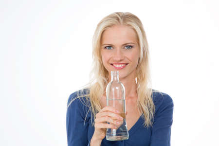 beautiful woman drinks water for lost weight photo
