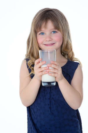 milk mustache: smiley girl drinking a glass of milk