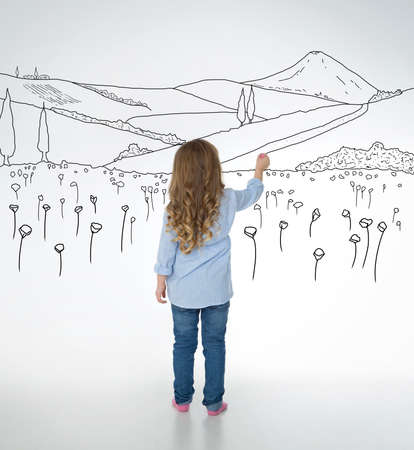 little girl barefoot: little child draws nice and detailed nature sketches