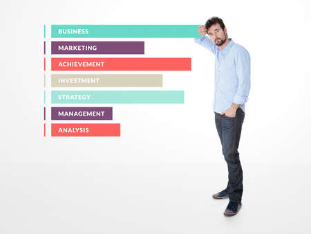 endorsed: one man endorsed on a graphic representing the competences of his business