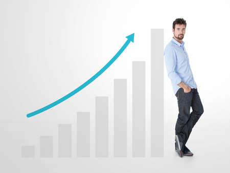 Flèche bleue montre une croissance dans ce plan Banque d'images - 36372697