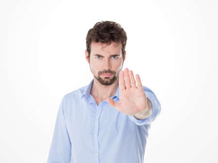 serious guy showing alt sign