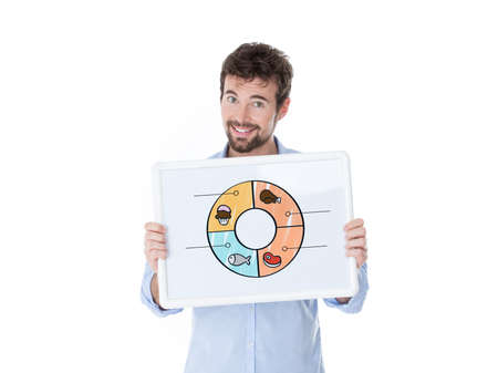 nice guy: one guy showing a banner with cartoons of different aliments Stock Photo