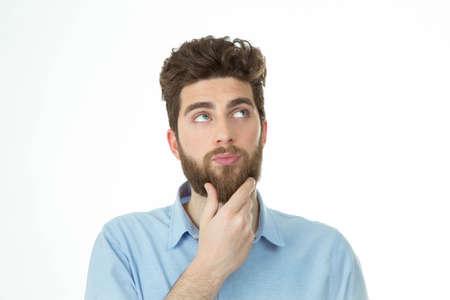 사려 깊은 표현으로 턱수염이 난 창조적 인 스톡 콘텐츠