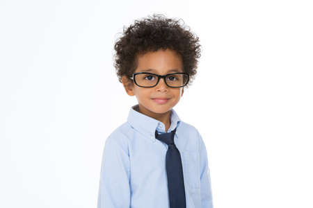 little boy with eye glasses and tie isolated on white background