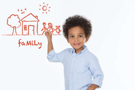 togheter: sweet boy drawing his happy family idea isolated on white background Stock Photo