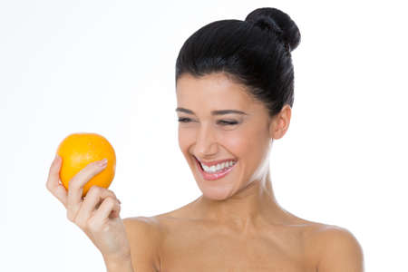 beautiful woman with a citrus Imagens