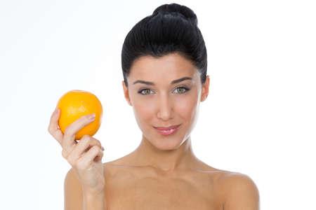 happy girl with orange