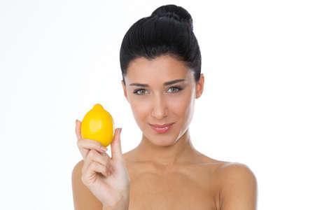 healty girl with fruit