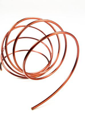 conductivity: Copper wire isolated on a white background