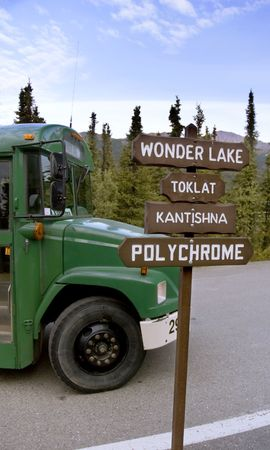 The famous green bus that transports visitors into and out of Denali National Park in Alaska