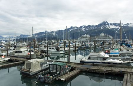 Fishing and leisure boats docked at the Seward Port in Reserection Bay on the Kenai Peninnsula of Alaska Reklamní fotografie