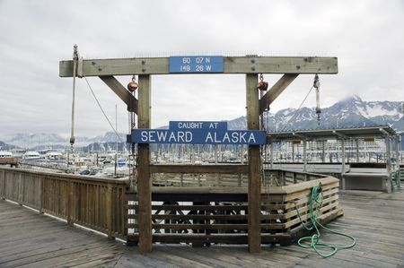 A sign at Seward Harbor in Alaska used to display the fish caught
