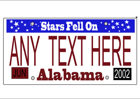A scalable vector illustration of the Alabama state license plate, , with editable text and expiration month and year, more states in more portfolio Ilustrace