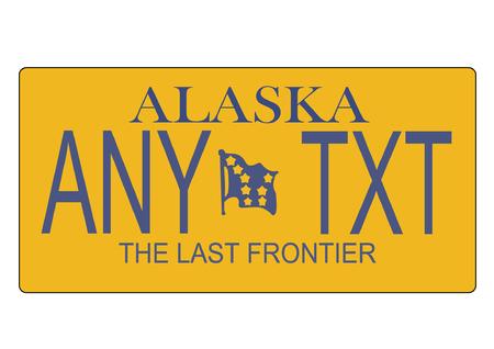 plaque immatriculation: A scalable vector illustration de l'Alaska, �tat des plaques d'immatriculation, fichier EPS, avec texte �ditable Illustration