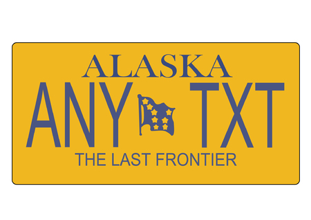 A scalable vector illustration of the Alaska state license plate, file, with editable text Ilustrace