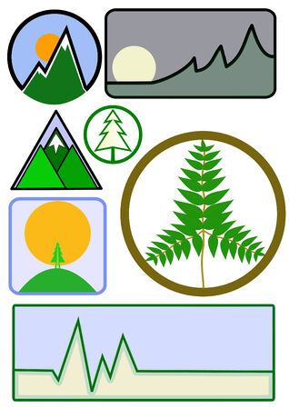 An assortment of mountain and environmental business icons