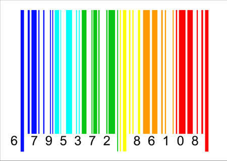 but: A typical barcode but in rainbow colors Illustration