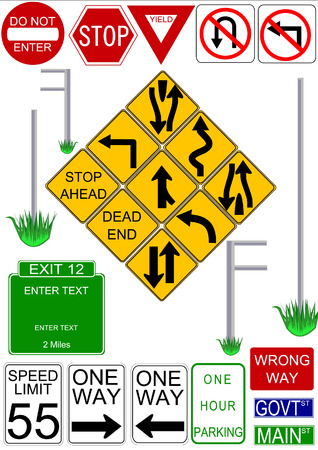 Vector traffic signs with illustrated vector post to 'install' them on.  Text can be edited or removed on all signs.