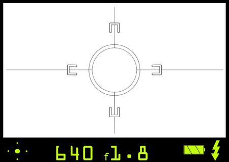 A view through a camera view finder.  Any picture can be inserted into this vector file to give the appearance of actually taking the snap shot. Illustration