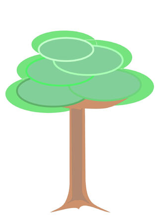 A vector illustration of a contemporary cartoon pastel tree Ilustrace