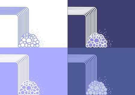 Een panel van concept watervallen in vectorformaat (EPS) formaat in geïsoleerde op verschillende blauwe en witte achtergronden