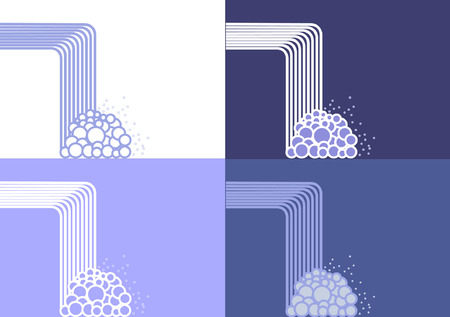 A panel of concept waterfalls in vector () format in isolated on various blue and white backgrounds Illustration