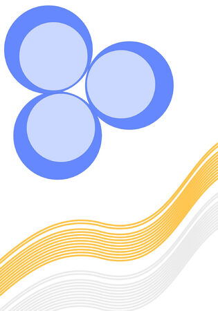 Orange and blue curves and circle background, vector format