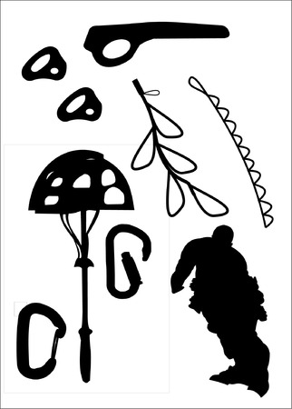 cam gear: Silhouettes of various rock climbing gear, protection and a climber isolated on a white background