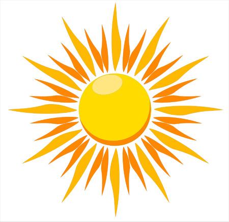 白い背景の上の燃える熱い太陽のベクトル イラスト