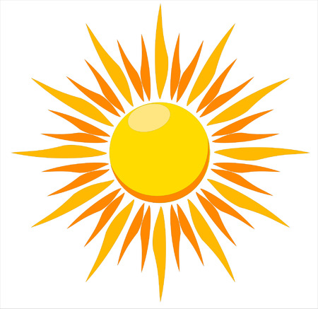 sol: A vector illustration of a blazing hot sun on a white background