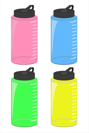 A vector set of four water bottles in pink, blue, green and yellow. Illustration