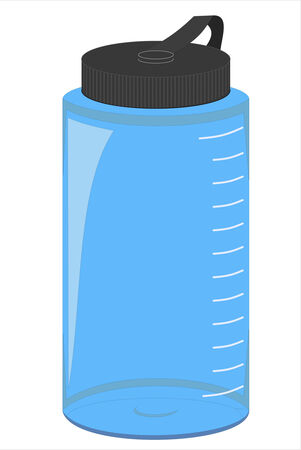 A blue vector water bottle isolated on a white background