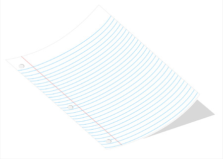 A vector illustration of a curved piece of loose leaf paper isolated on a white background Çizim