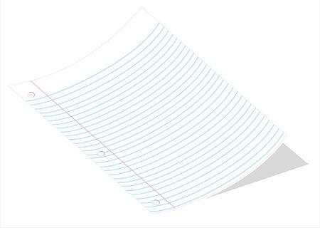 loose leaf: Una ilustraci�n vectorial de una pieza curvada de la hoja suelta de papel aisladas sobre fondo blanco