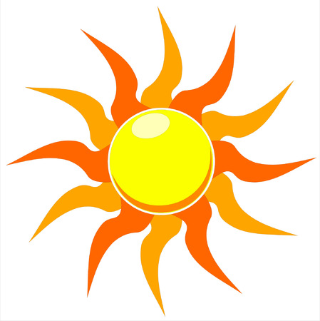 A vector illustration of a blazing hot sun on a white background