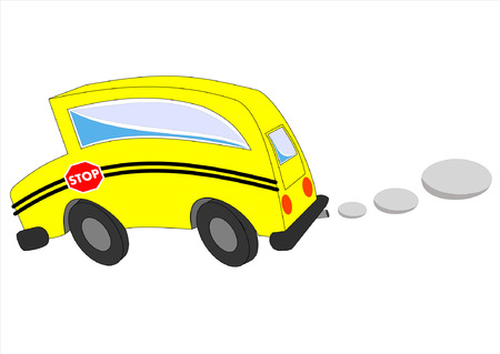 A cartoon concept moving school bus is isolated against a white background Ilustrace