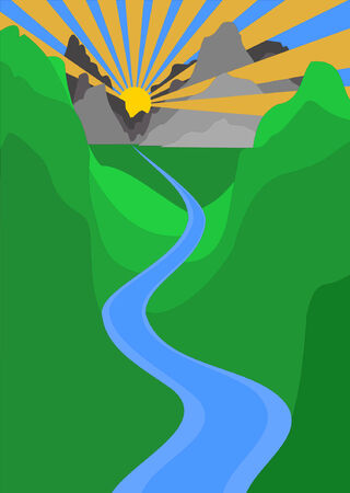 Sunset rays shine through mountain and canyon landscape with a river flowing through the forground Illustration