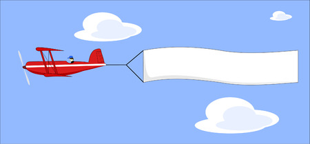pull: A vector illustration of a cartoon plane pulling a blank banner Illustration