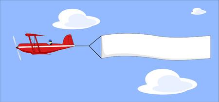 Een vector afbeelding van een cartoon vlak een lege banner trekken