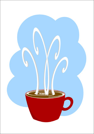 A steaming hot cup of coffee abstract cartoon illustration on a white background