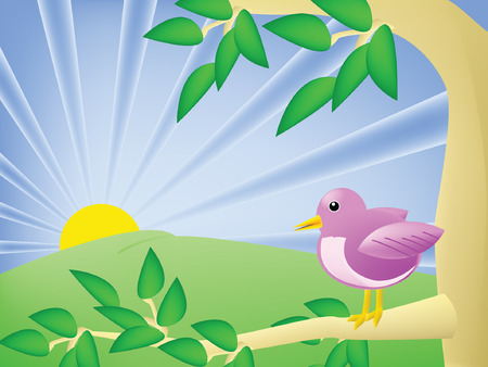 A purple cartoon bird sits in a tree and watches the sun set, background illustration