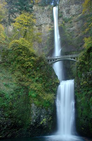 Long exposure of Multnomah Falls near Portland Oregon in the Columbia River Gorge in fall