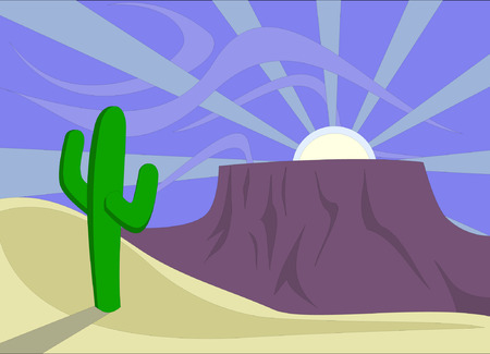 A desert sunset with saguaro cactus and plateau (mesa). Vector