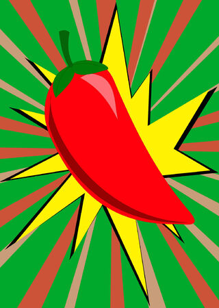 A spicy hot pepper and sunburst illustration explodes from the background.  All items on seperate layers for easier editing.