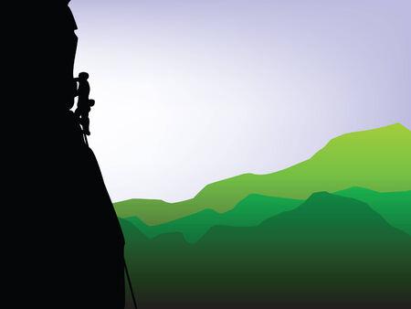 山の高山のロッククライマーのシルエット